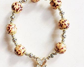 Wooden 'Jaguar' Bead Bracelet with Crystal Heart Feature