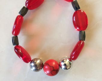 Coral & Haematite Bracelet