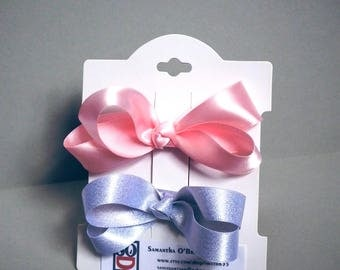 Classic satin hair bows. Hair ribbons. gift for girl. Pink and silver