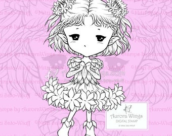 PNG Bachelor's Buttons Sprite - Aurora Wings Digital Stamp - Cornflower Fairy - Fantasy Line Art for Arts and Crafts by Mitzi Sato-Wiuff