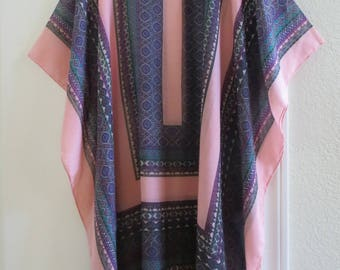 Womans Tunic Caftan Kaftan Coverup Blouse Pink and Blue Tunic Summer Tunic Beach Coverup Summer Top
