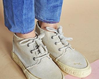 90s TEXTILE sneakers CANVAS sneakers PALLADIUM sneakers retro sneakers wabi sabi sneakers visvim sneakers / size 6.5 us / 4 uk / 37 eu