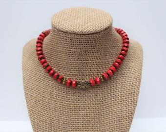 Crimson Red Choker, Ruby Red Beaded Choker, Red Beaded Choker, Deep Red Necklace, Blood Red Necklace, Red Statement CHoker