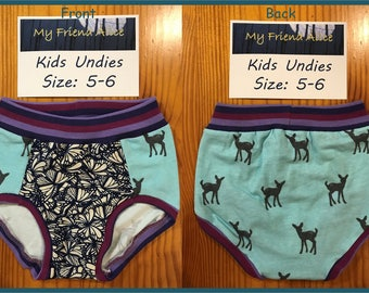 Kids undies, size 5-6, underwear, pants, panties, briefs, up-cycled butterfly fabric and fawns