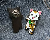 Maneki Neko (lucky cat) enamel lapel pin