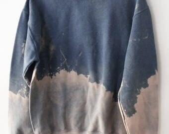 Blue dip dye Sweatshirt, Tie dye Pink crewneck sweatshirt, Ombre, acid wash, crewneck, jumper, retro, rocker, sweater, gray, grunge