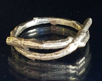 Twig Ring recycled sterling silver detailed texture handmade cast from life ~ stylish gift nature lover boho native tribal native southwest