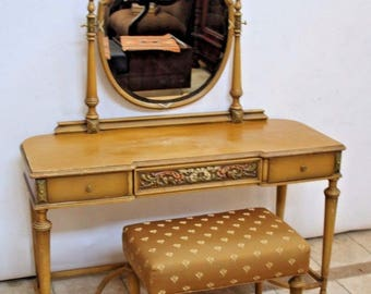 Antique French Country Makeup Vanity Table Desk Beveled Mirror Matching Bench Insured safe nationwide shipping available