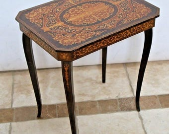 Antique Flip Top Sewing Side Table Stand with music box mahogany inlays Nationwide shipping available call for best rates