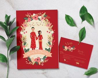 Traditional Chinese Wedding Invitation / Family Portrait Wedding Invites / Illustrated Couples  + Family Portrait / Chinese New Year Invite