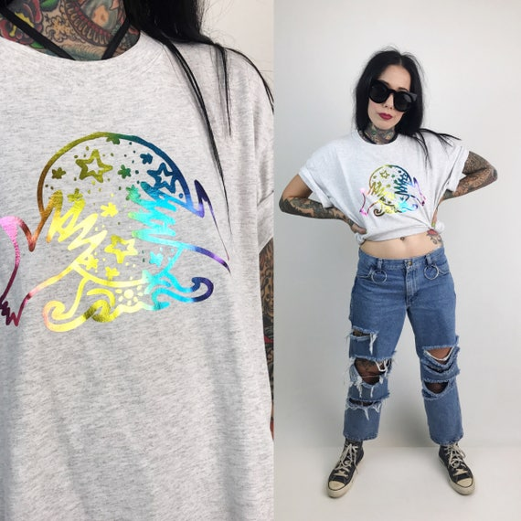 "Rainbow Metallic Crystal Ball ""The Cosmic Circle"" Shirt Adult Large - Crew Neck Boho Gypsy Fortune Teller Gray Upcycled Grunge Tee Shirt"