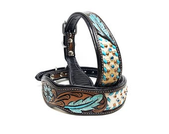 Feather Tooled Tapered MadcoW Western Hand Tooled Hair Inlay Turquoise Canine Leather K9 Dog Collar Hand Made Fully Adjustable