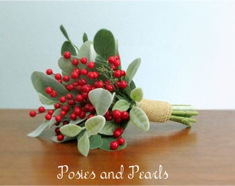 """Rustic Red Berry Wedding Bouquet and Boutonniere, Lamb's Ear Leaf, Eucalyptus and Natural Burlap Wrap, Winter Wedding, """"Merry"""""""
