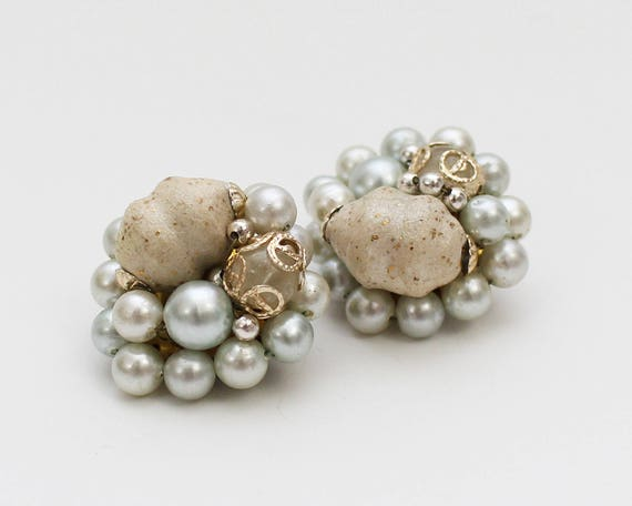 50s Pale Blue Bead Cluster Earrings - Vintage 1950s Cocktail Clip Ons