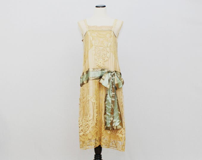 Antique 1920s Silk and Lace Flapper Dress