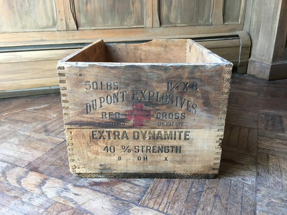 Antique Wood Dupont Crate, Red Cross Crate, Large Dynamite Crate, Rustic Industrial Storage