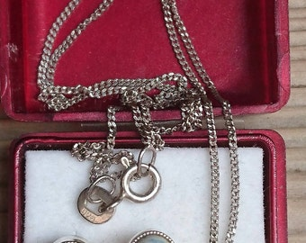 Vintage sterling silver Dutch delft China earrings, pendant and chain