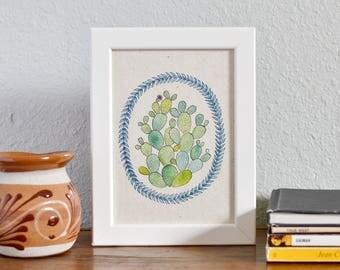 Watercolor Cactus Art Print - Nopales - Art Print on Handmade Paper - Cactus Lover - Cactus Wall Art - Prickly Pear Art Print