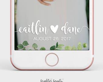 Greenery Wedding Snapchat Filter | Custom Wedding Geofilter | Elegant Snapchat Filter | Just Married Snapchat Filter