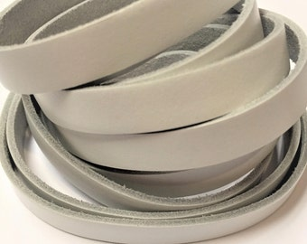 10mm White Flat Leather Cord without trim, jewelry supplies, strap