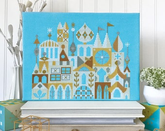 Arcadia - White and Gold City - Satsuma Street Modern Cross stitch pattern PDF - Instant download