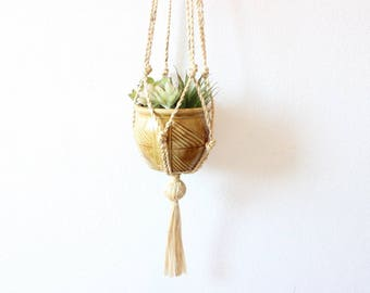 Vintage Macrame Hanging Planter and Pot Jute Macrame Plant Holder Boho Home Decor