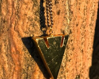 BLACK TOURMALINE Arrowhead Necklace on Antique Gold Chain | Natural Polished Black Arrow Pendant, Unisex Crystal Healing Necklace | For Men