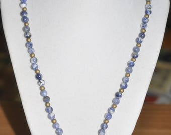 Necklace Brass Gold Blue Sodalite Glass Pearlized Concentric Circle 24 inch #060617
