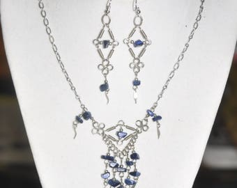 Upcycled Necklace and Earrings Set Blue Sodalite Silver Hand Wrought Wire Link  #290717