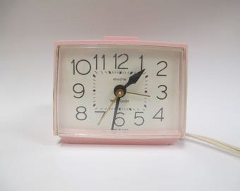 Vintage Pink Westclox Electric Alarm Clock, 1960s Dialite / Drowse Model 22284, Lights Up and Works !