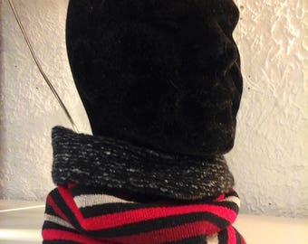 Collar snood scarf reversible mixed striped