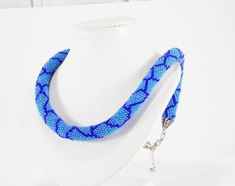 Mom gifts\for\women gifts\for\wife Snake jewelry Blue python snake necklace nautical jewelry Healing jewelry Bead necklace gift rope jewelry