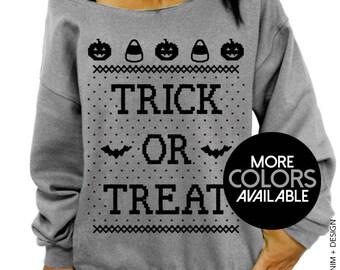 Trick or Treat, Halloween Sweater Costume, Women's Clothing, Oversized, Slouchy Sweatshirt, Bats, Pumpkins and Candy Corn, Tunic Sweater