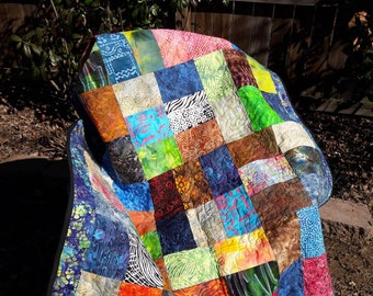 Blue Batik Quilt, Lap Throw for sofa or recliner, Cottage chic, Summer time colors, Perfect for dorm room or cabin