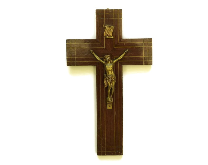 Large Hanging Cross with Brass Inlay.