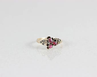 Antique 10k Yellow Gold Ruby and Diamond Ring Size 6 1/4 Victorian Ring