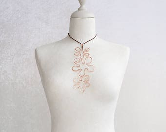 A necklace pendant with three copper flowers totally handmade, an unique and so trendy copper jewel for womens gift