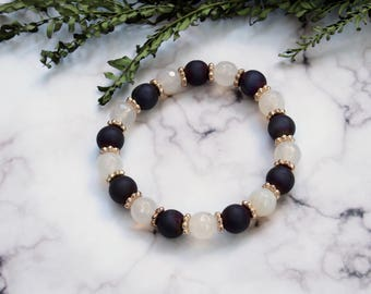 Oil Slick Iridescent / Holographic Purple Druzy & Rose Quartz / Gemstone Beaded Stretch Bracelet