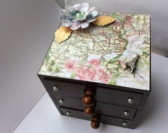 Map jewelry box etsy vintage map wooden jewellery box french france wood stained walnut 3 three drawer chest trinket gumiabroncs Image collections