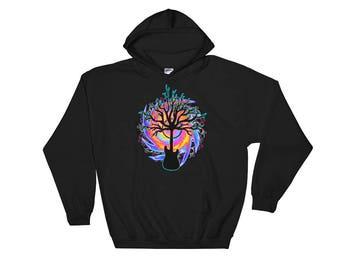 Psychedelic Guitar Tree, Hoodie, Guitar Hoodie, Guitarist Hoodie, Music Sweatshirt, Guitar Player Gift, Guitarist Gift, Musician Gift,
