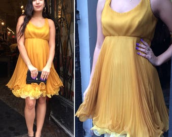 "Vintage 1960s Mustard Yellow Pleated ""Miss Elliette"" Party Dress"