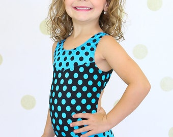 Two-tone turquoise/black polka dot leotard