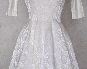 Vintage 1950s Gigi Young Ivory Brocade Party Dress Wedding Dress White Dress