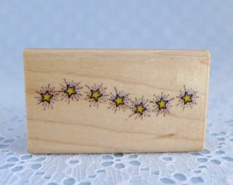 Twinkling Stars Stamp, Small Wood Mounted Rubber Stamp, Paper Crafts, Card and Tag Making, Scrapbooking Supply