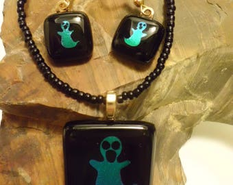 Fused Glass Etched Dichroic Ghost Pendant and Earring Set
