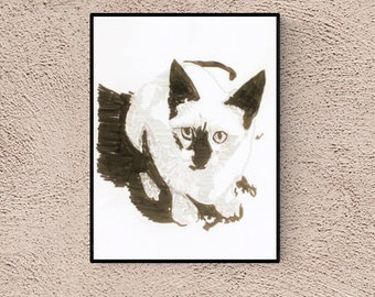 Cat Art: Siamese Cat, original art, Hand made Pop Art illustration, hand-signed, unique piece, free dispatch