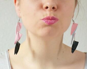 Leather statement earrings, Flamingo earrings, geometric earrings, long earrings, Boho jewelry, Statement earring, Gift for her under 15