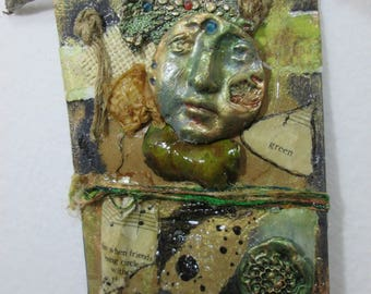 Small Space Art/ Wall Art/Talisman/ Collage/ Mixed Media/ OOAK Handmade Art/ Spirit/ Healing/Gift