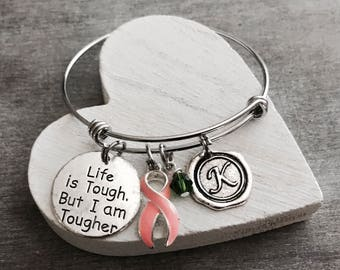 Life is tough but I am tougher, Silver Bracelet, Fighter, Survivor, Cancer, PEACH Ribbon, Awareness Ribbon, Endometrial, Uterine, Vaginal