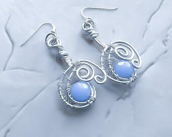 Periwinkle Blue Earrings - Beaded Earrings - Wire wrapped Earrings - Everyday Earrings - Silver Earrings - Blue drop earrings